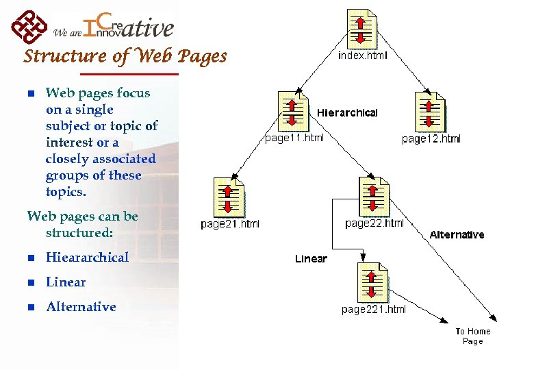 Structure of Web Pages n Web pages focus on a single subject or topic