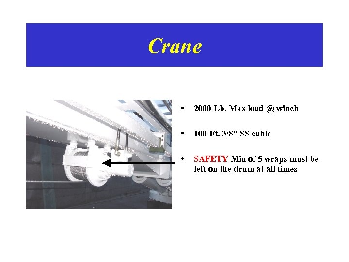 """Crane • 2000 Lb. Max load @ winch • 100 Ft. 3/8"""" SS cable"""