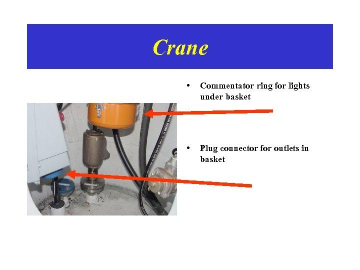 Crane • Commentator ring for lights under basket • Plug connector for outlets in