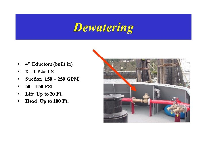 """Dewatering • • • 4"""" Eductors (built in) 2– 1 P&1 S Suction 150"""