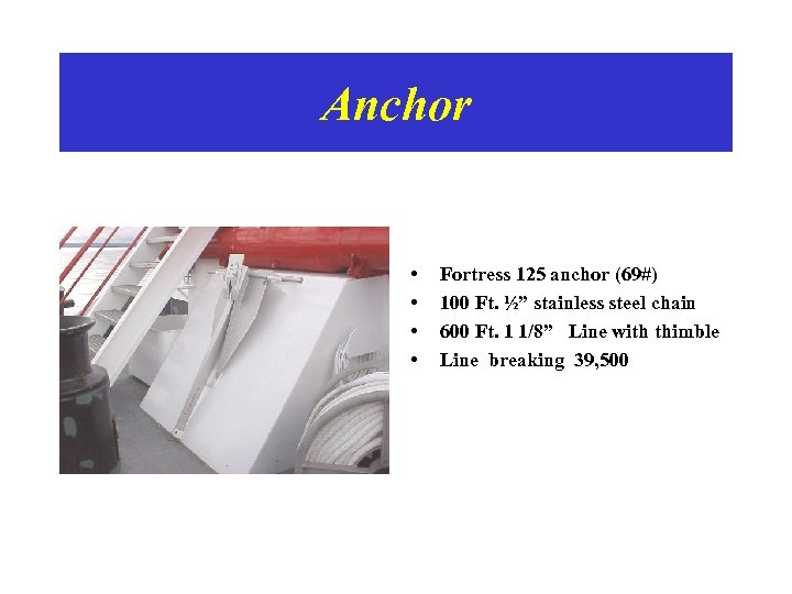 """Anchor • • Fortress 125 anchor (69#) 100 Ft. ½"""" stainless steel chain 600"""