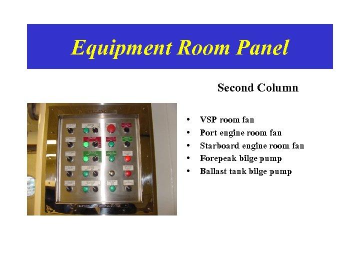 Equipment Room Panel Second Column • • • VSP room fan Port engine room