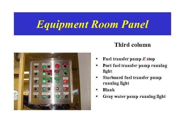 Equipment Room Panel Third column • • • Fuel transfer pump E stop Port