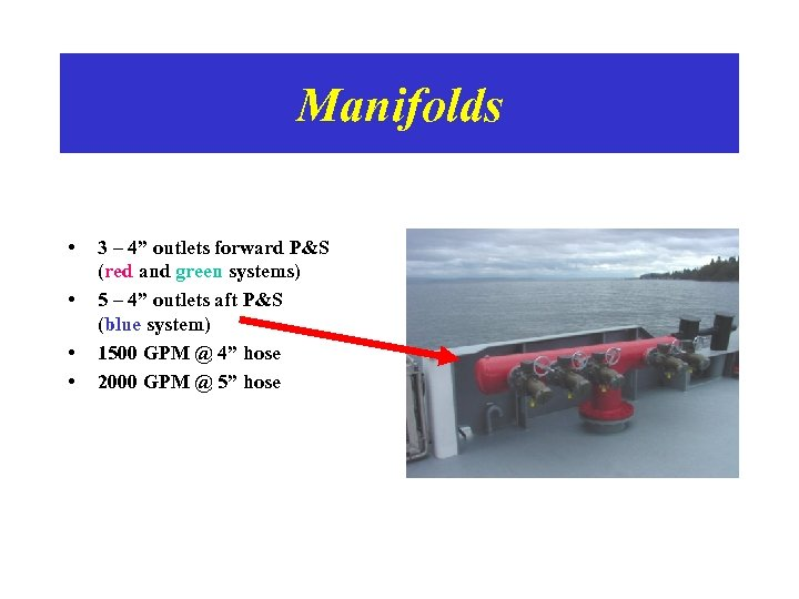 """Manifolds • • 3 – 4"""" outlets forward P&S (red and green systems) 5"""
