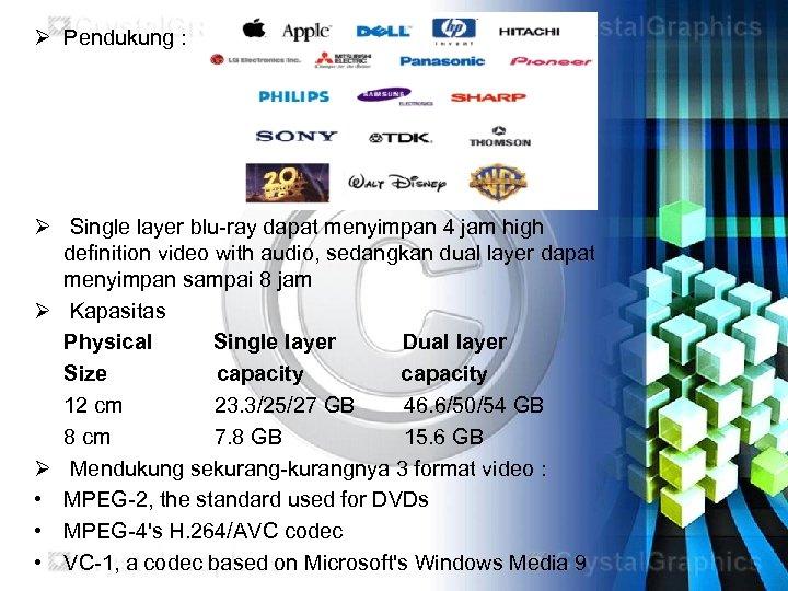 Ø Pendukung : Ø Single layer blu-ray dapat menyimpan 4 jam high definition video