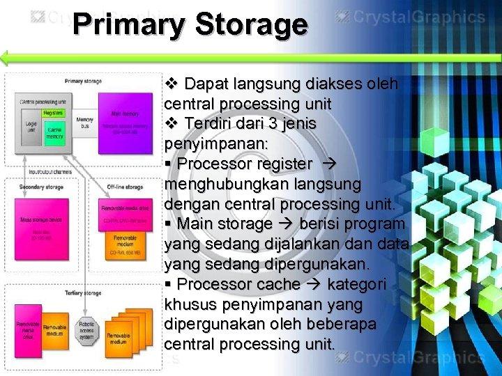 Primary Storage v Dapat langsung diakses oleh central processing unit v Terdiri dari 3