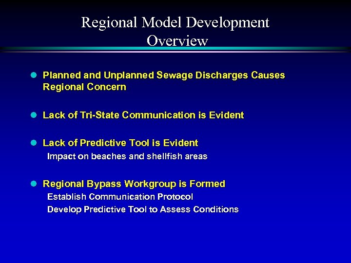 Regional Model Development Overview l Planned and Unplanned Sewage Discharges Causes Regional Concern l