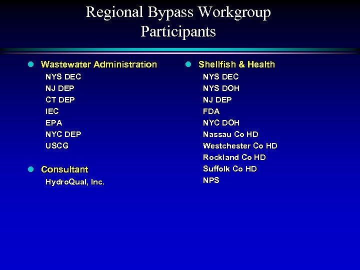 Regional Bypass Workgroup Participants l Wastewater Administration NYS DEC NJ DEP CT DEP IEC