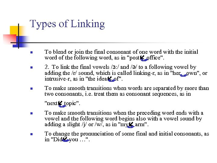 Types of Linking n n n To blend or join the final consonant of