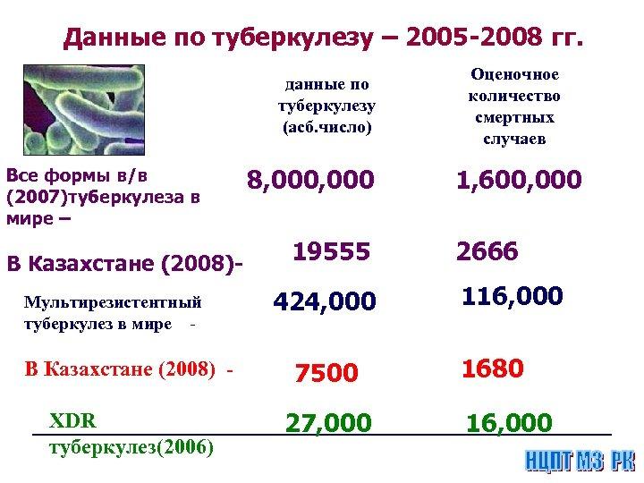 Данные по туберкулезу – 2005 -2008 гг. данные по туберкулезу (асб. число) Все формы