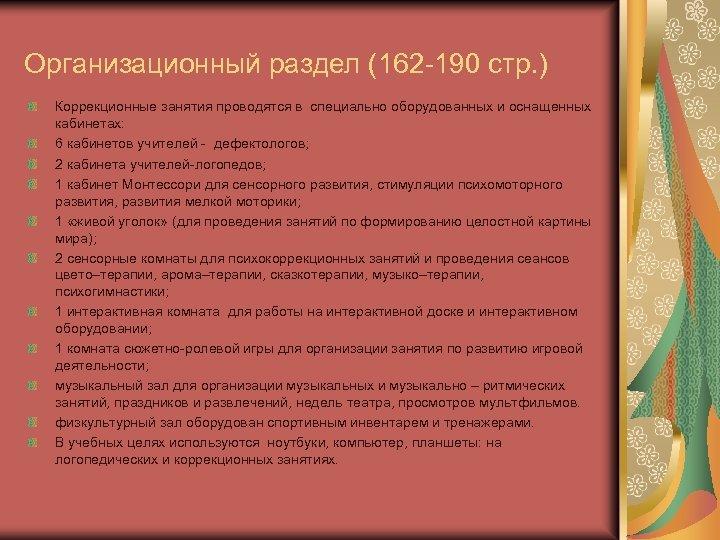 Организационный раздел (162 190 стр. ) Коррекционные занятия проводятся в специально оборудованных и оснащенных