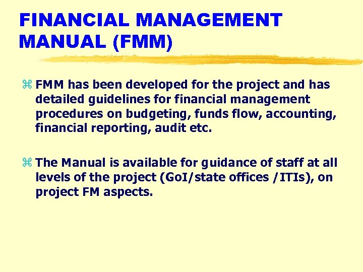 FINANCIAL MANAGEMENT MANUAL (FMM) z FMM has been developed for the project and has