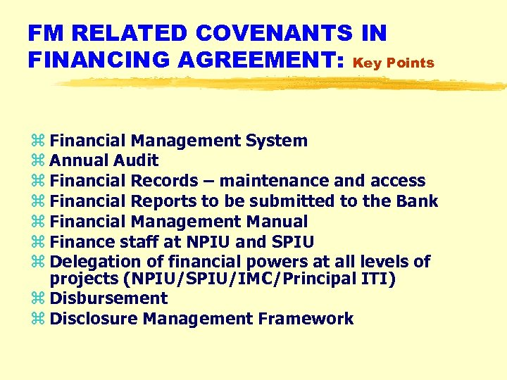 FM RELATED COVENANTS IN FINANCING AGREEMENT: Key Points z Financial Management System z Annual