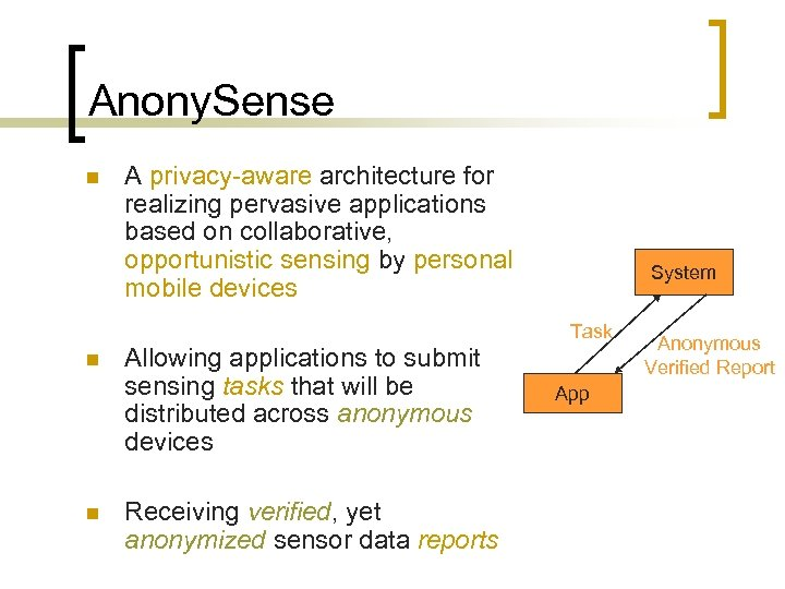 Anony. Sense n n n A privacy-aware architecture for realizing pervasive applications based on