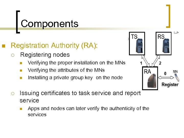 Components n Registration Authority (RA): ¡ Registering nodes n n n ¡ Verifying the