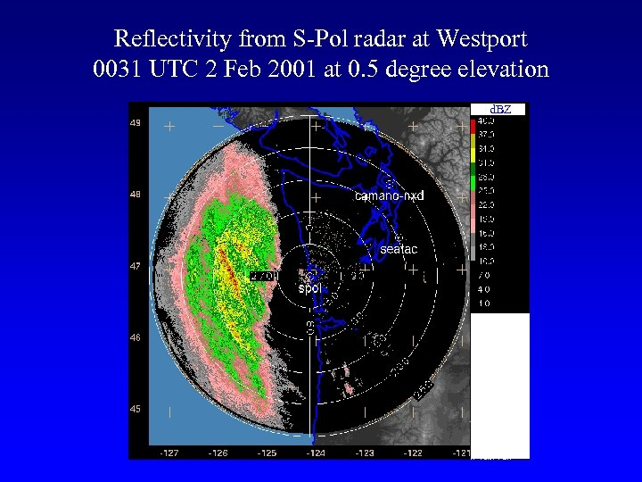 Reflectivity from S-Pol radar at Westport 0031 UTC 2 Feb 2001 at 0. 5