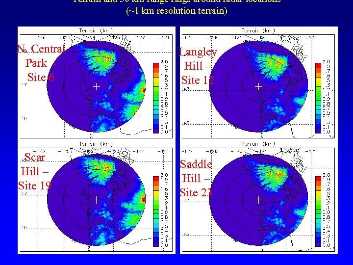Terrain and 50 km range rings around radar locations (~1 km resolution terrain) N.