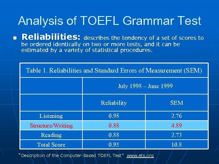 Analysis of TOEFL Grammar Test n Reliabilities: describes the tendency of a set of