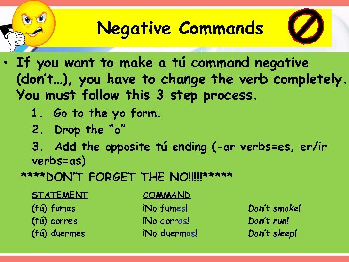 Negative Commands • If you want to make a tú command negative (don't…), you