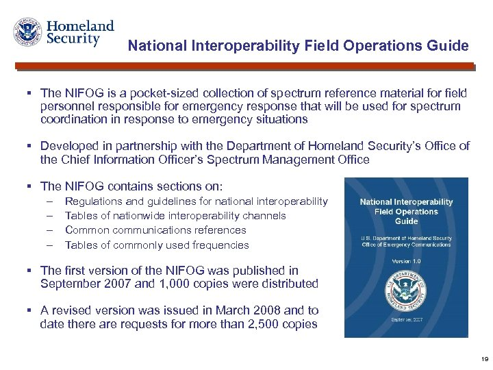National Interoperability Field Operations Guide § The NIFOG is a pocket-sized collection of spectrum