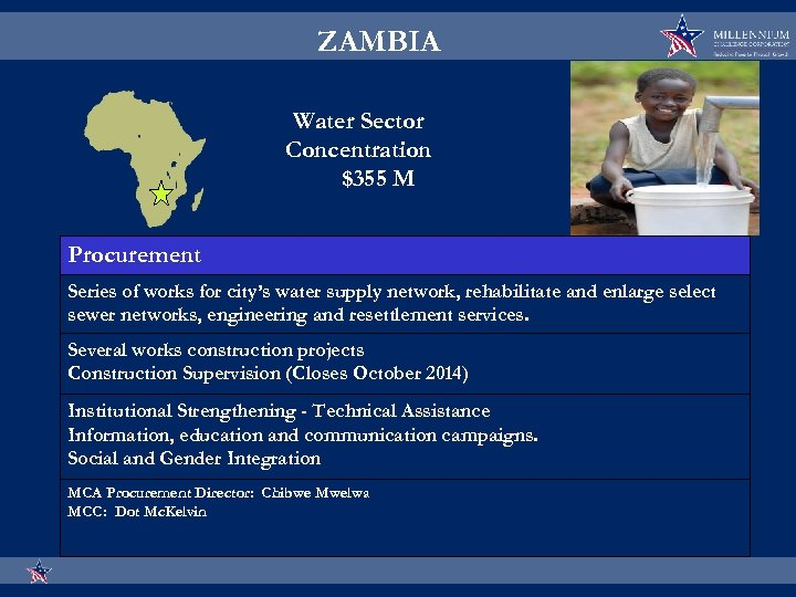 ZAMBIA Water Sector Concentration $355 M Procurement Series of works for city's water supply