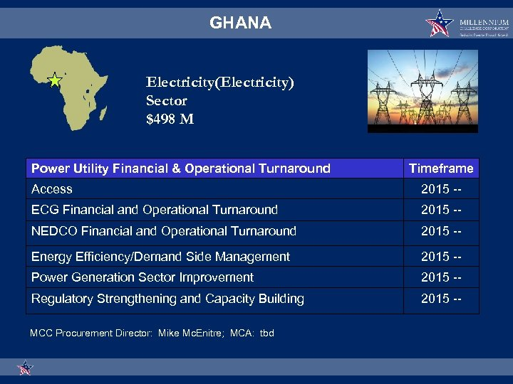 GHANA Electricity(Electricity) Sector $498 M Power Utility Financial & Operational Turnaround Timeframe Access 2015