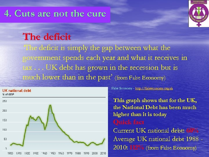 4. Cuts are not the cure The deficit 'The deficit is simply the gap
