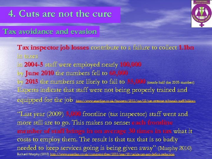 4. Cuts are not the cure Tax avoidance and evasion Tax inspector job losses