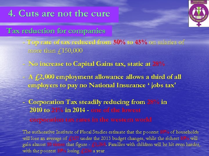 4. Cuts are not the cure Tax reduction for companies - Top rate of