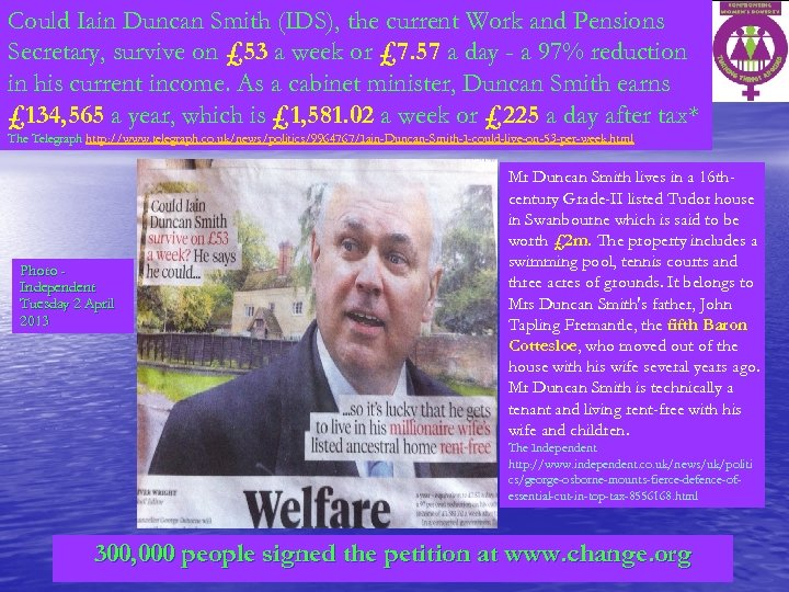 Could Iain Duncan Smith (IDS), the current Work and Pensions Secretary, survive on £