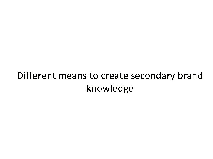 Different means to create secondary brand knowledge