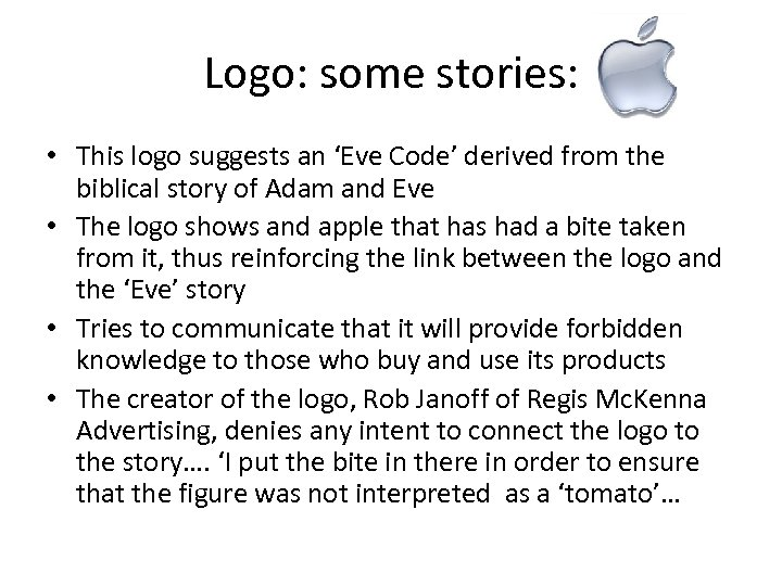 Logo: some stories: • This logo suggests an 'Eve Code' derived from the biblical