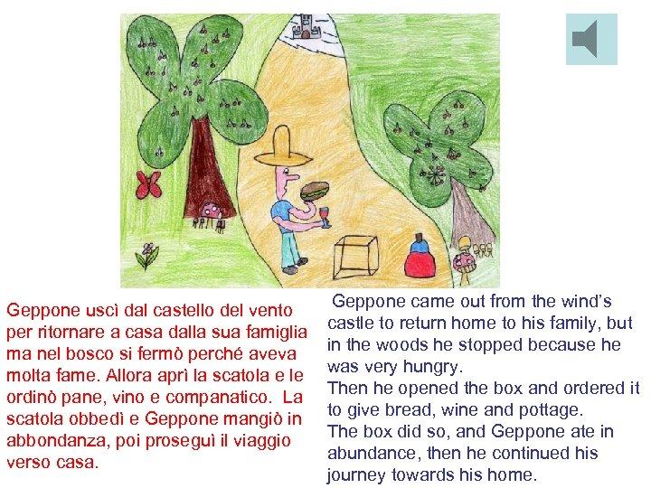 Geppone uscì dal castello del vento per ritornare a casa dalla sua famiglia ma