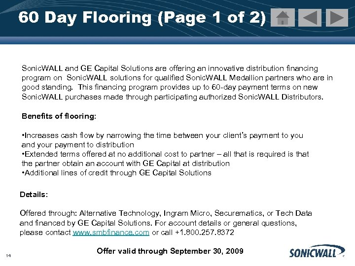 60 Day Flooring (Page 1 of 2) Sonic. WALL and GE Capital Solutions are