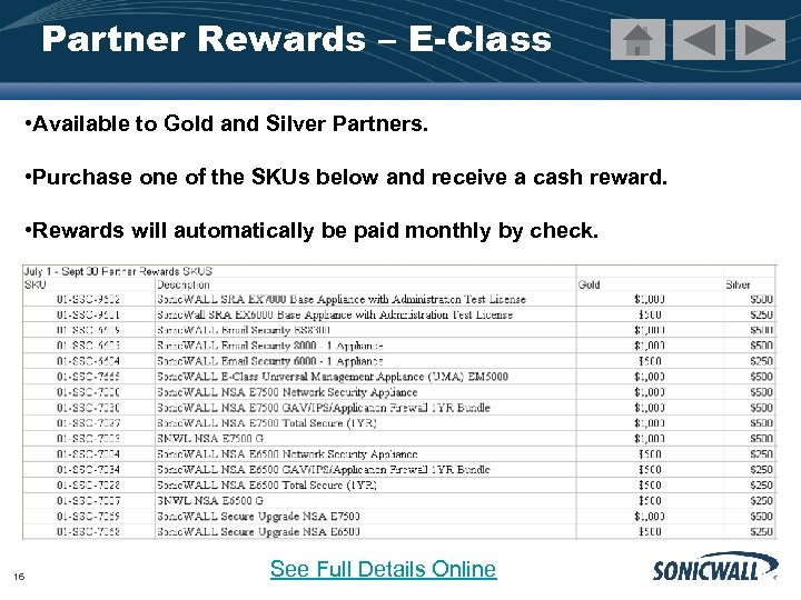 Partner Rewards – E-Class • Available to Gold and Silver Partners. • Purchase one