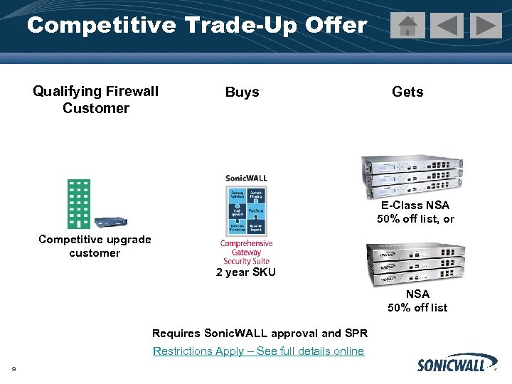 Competitive Trade-Up Offer Qualifying Firewall Customer Buys Gets E-Class NSA 50% off list, or
