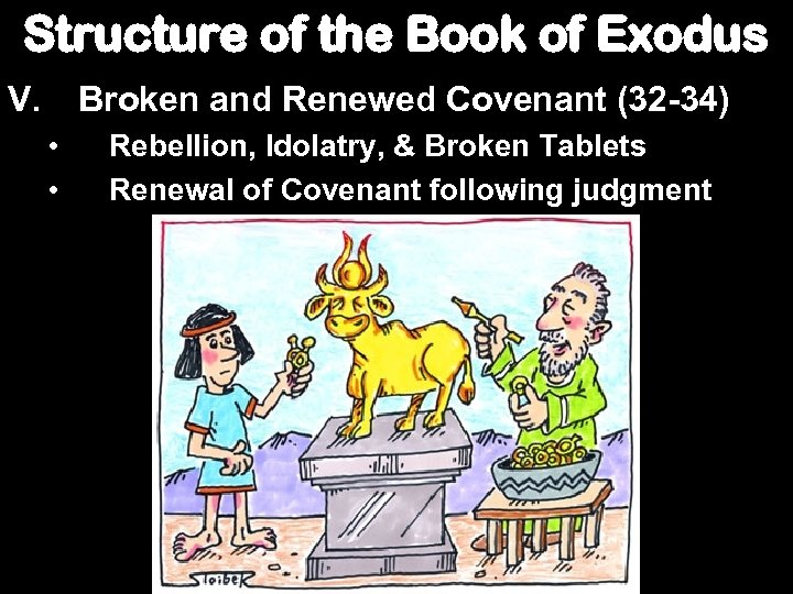 Structure of the Book of Exodus V. Broken and Renewed Covenant (32 -34) •