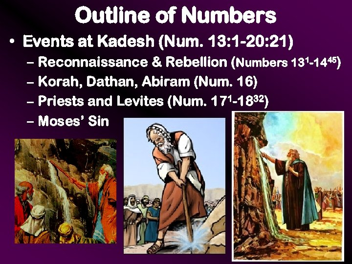 Outline of Numbers • Events at Kadesh (Num. 13: 1 -20: 21) – Reconnaissance