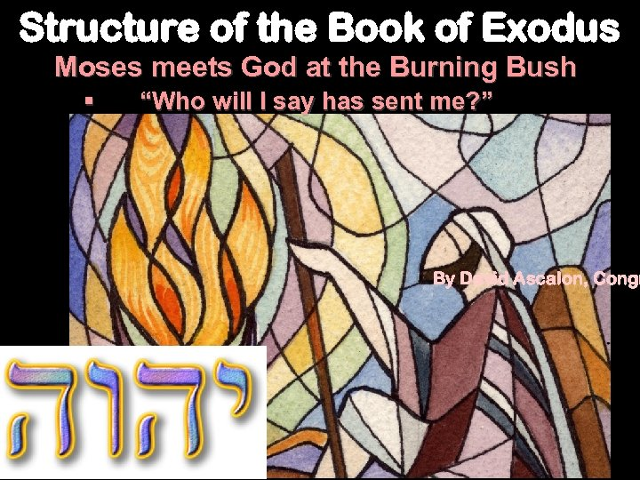 Structure of the Book of Exodus Moses meets God at the Burning Bush §
