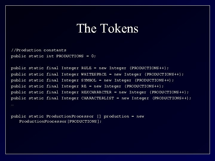 The Tokens //Production constants public static int PRODUCTIONS = 0; public public … static