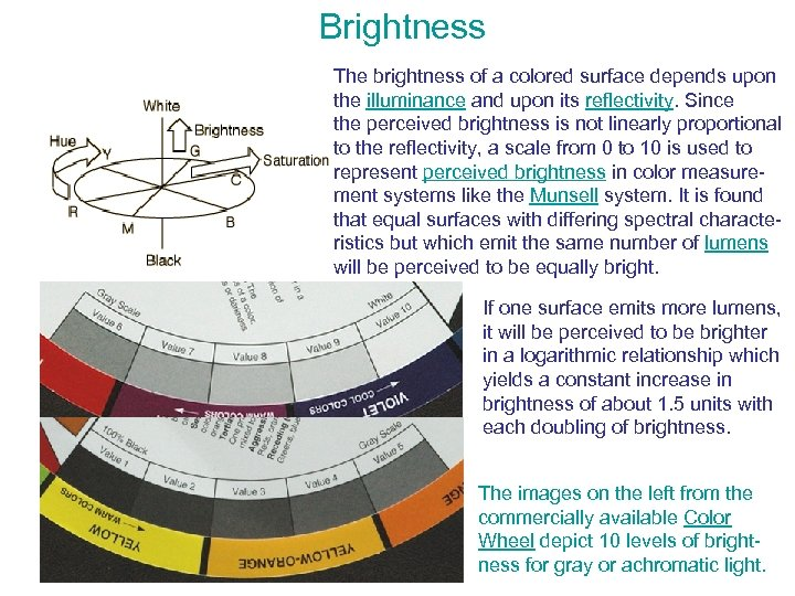 Brightness The brightness of a colored surface depends upon the illuminance and upon its
