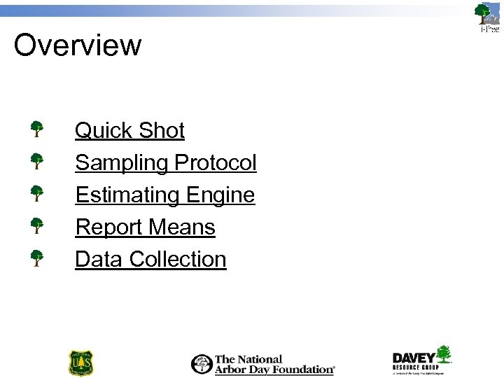Overview Quick Shot Sampling Protocol Estimating Engine Report Means Data Collection