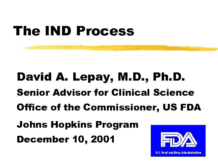 The IND Process David A. Lepay, M. D. , Ph. D. Senior Advisor for