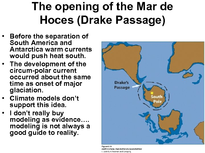 The opening of the Mar de Hoces (Drake Passage) • Before the separation of