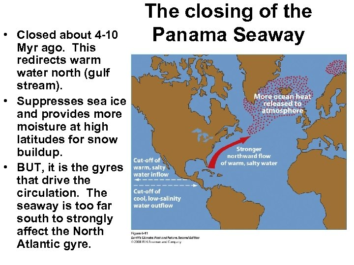 • Closed about 4 -10 Myr ago. This redirects warm water north (gulf