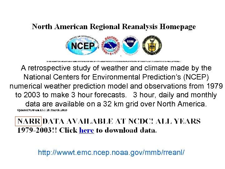 A retrospective study of weather and climate made by the National Centers for Environmental