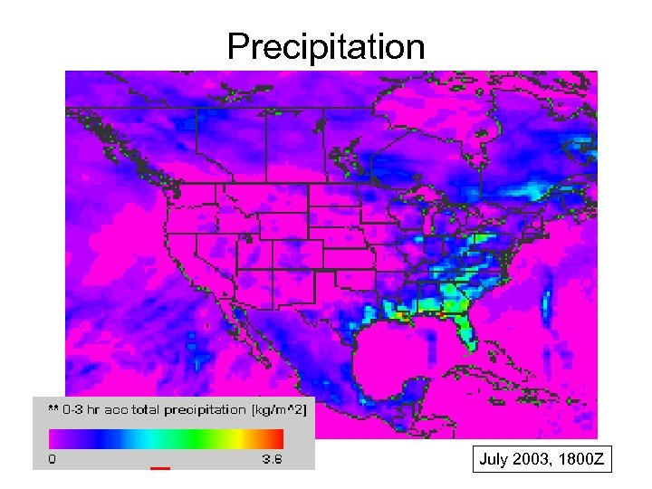 Precipitation July 2003, 1800 Z