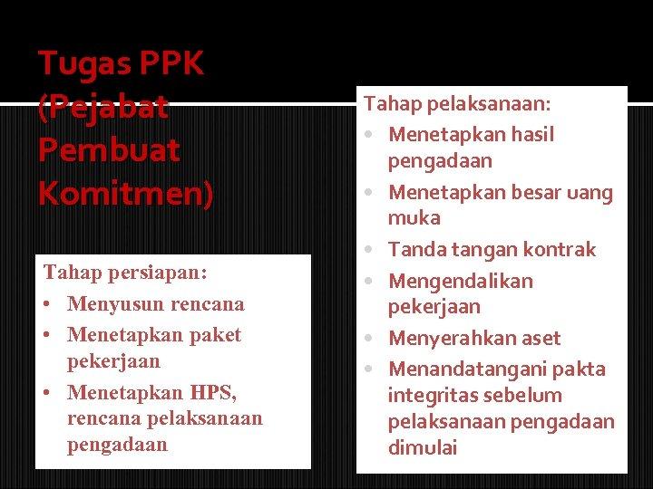 Tugas PPK (Pejabat Pembuat Komitmen) Tahap persiapan: • Menyusun rencana • Menetapkan paket pekerjaan