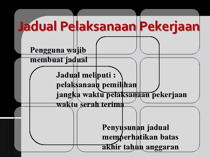 Jadual Pelaksanaan Pekerjaan Pengguna wajib membuat jadual Jadual meliputi : pelaksanaan pemilihan jangka waktu