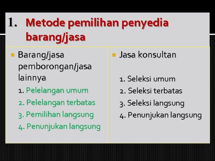 1. Metode pemilihan penyedia barang/jasa Barang/jasa pemborongan/jasa lainnya 1. Pelelangan umum 2. Pelelangan terbatas